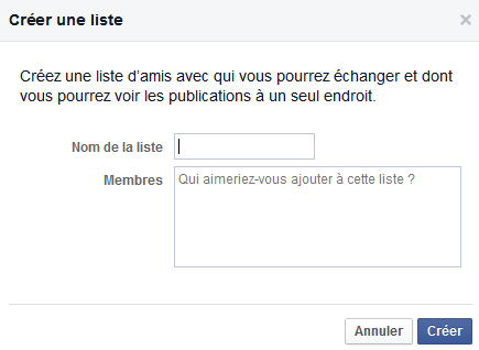 creation de liste facebook