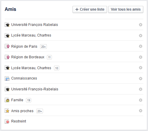 créer liste facebook