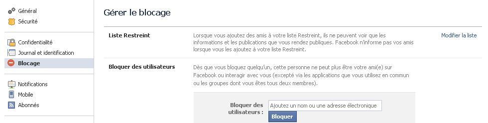 listes restreintes facebook