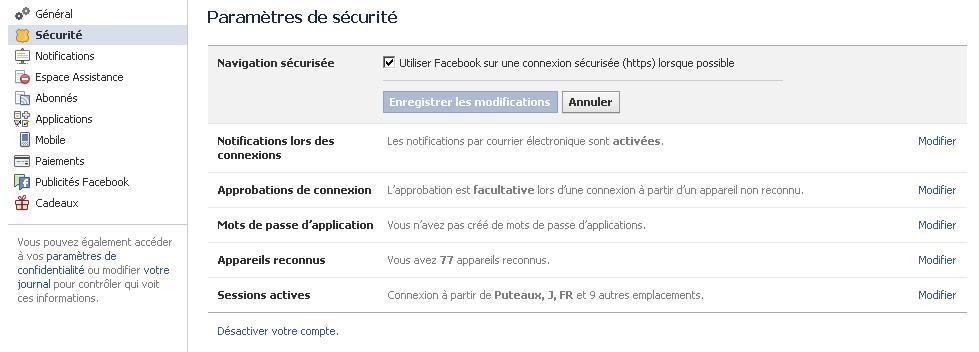 sécuriser compte facebook en https