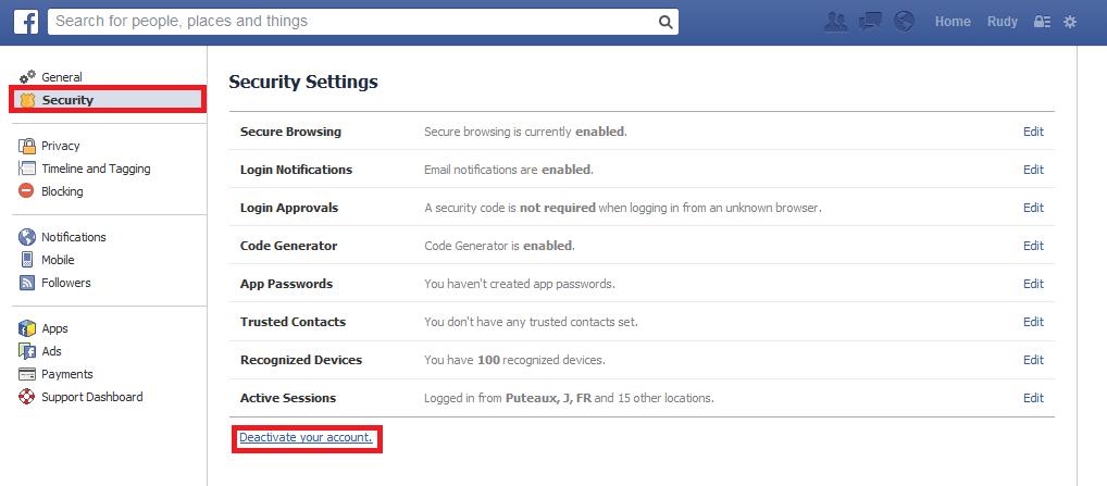 securiser compte facebook