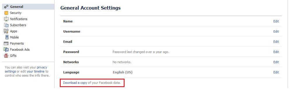 télécharger copie de ses données facebook