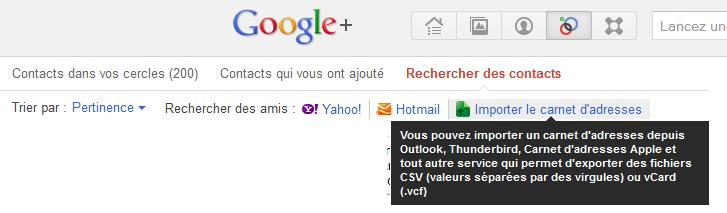 Importer contacts dans Google +