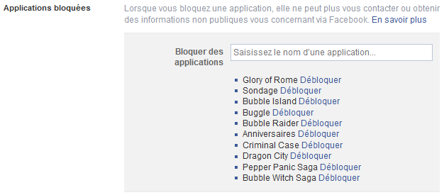 bloquer application facebook