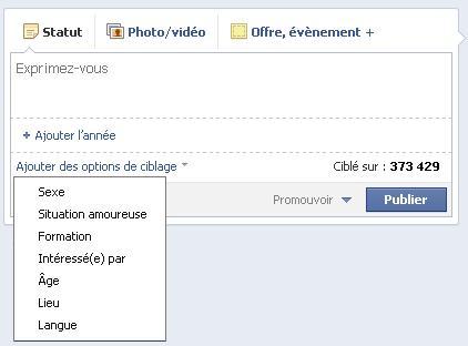 fonctionnalités de ciblage des publications facebook