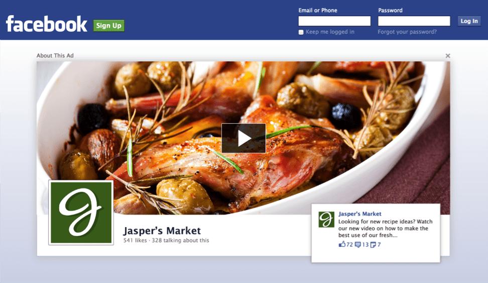 publicité facebook sur la page logout