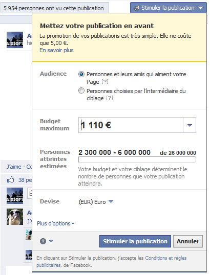 promotion de publication facebook