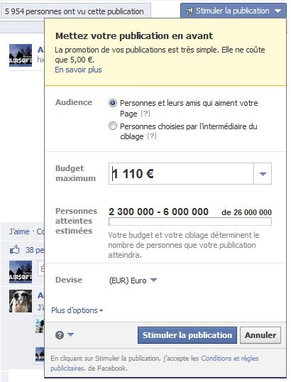 promotion de publication facebook