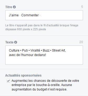 texte publicite facebook
