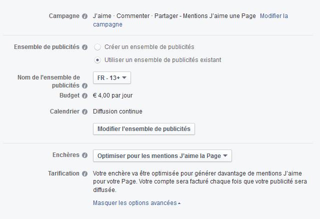 valider campagne facebook