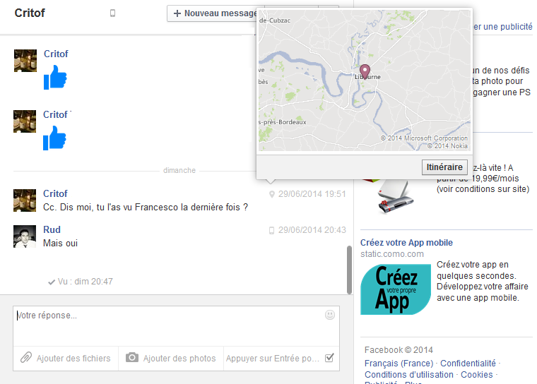 comment localiser un portable par facebook