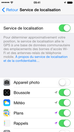 localisation facebook iphone 6