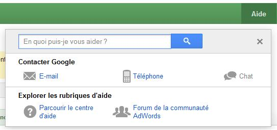 Contacter Google Adwords