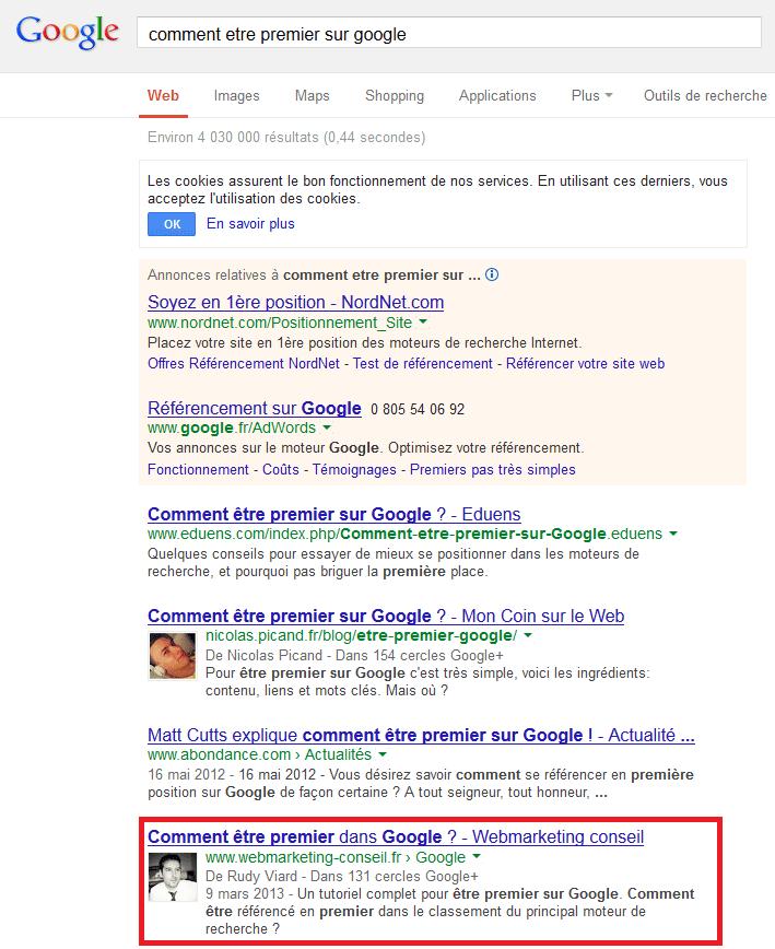 etre premier sur google