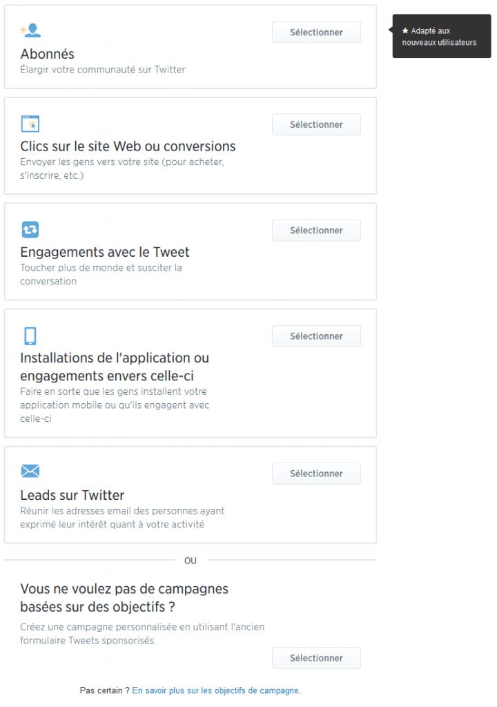 campagne twitter objectifs