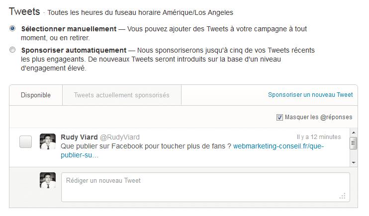 sélection manuelle ou automatique des tweets sponsorisés