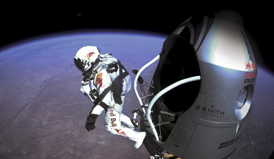Red Bull Stratos le parachutiste Felix Baumgartner.