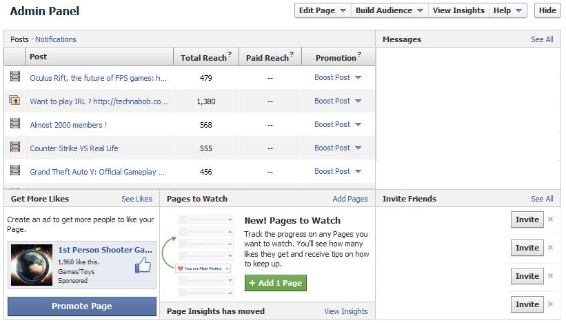 comparateur de pages facebook