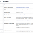 informations page facebook