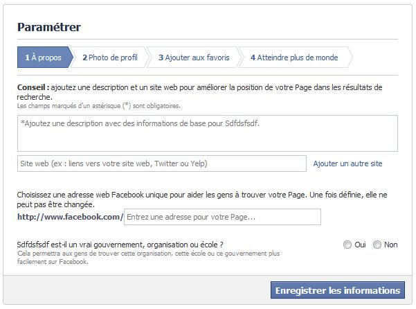 parametrer une page facebook