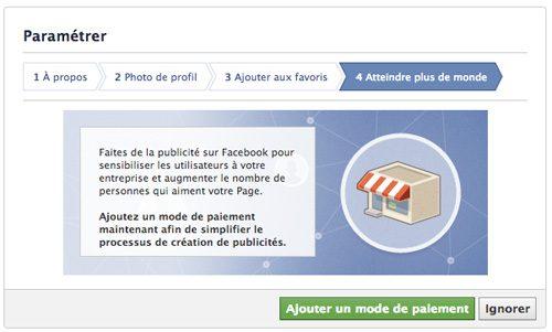 publicité page facebook