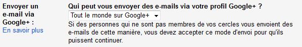envoyer un email via google+