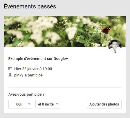 évènement google+