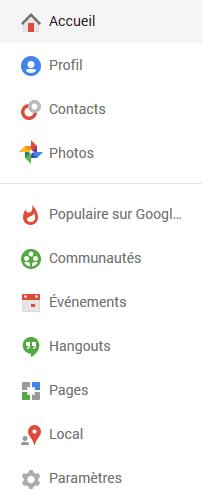 menu google plus