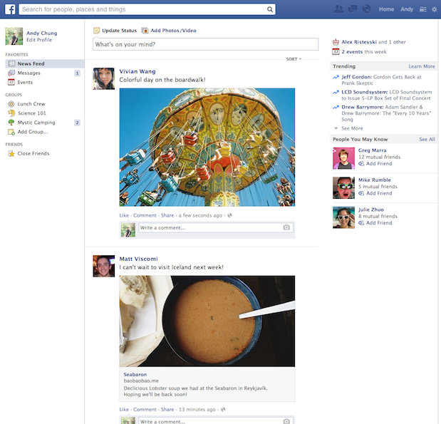 ancien design de facebook