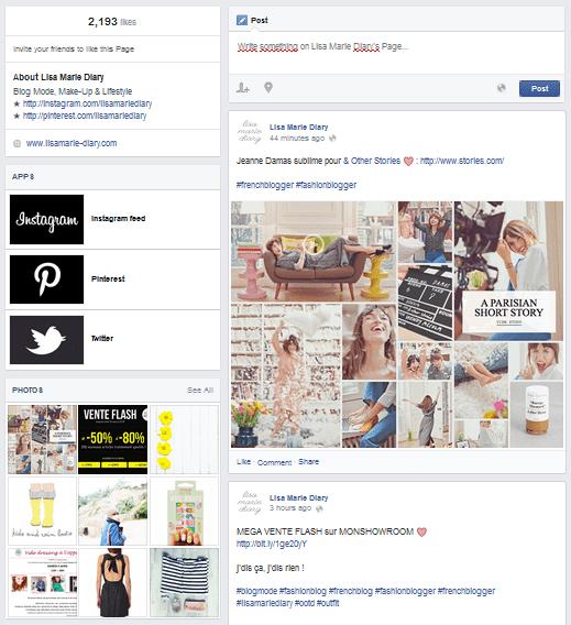 colonne gauche fanpage facebook