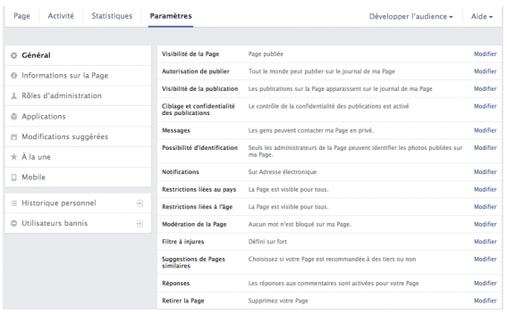 options de gestion page facebook