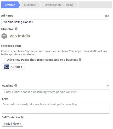 publicité facebook appel à l'action