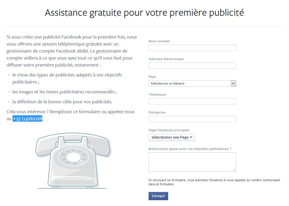 assistance publicité facebook