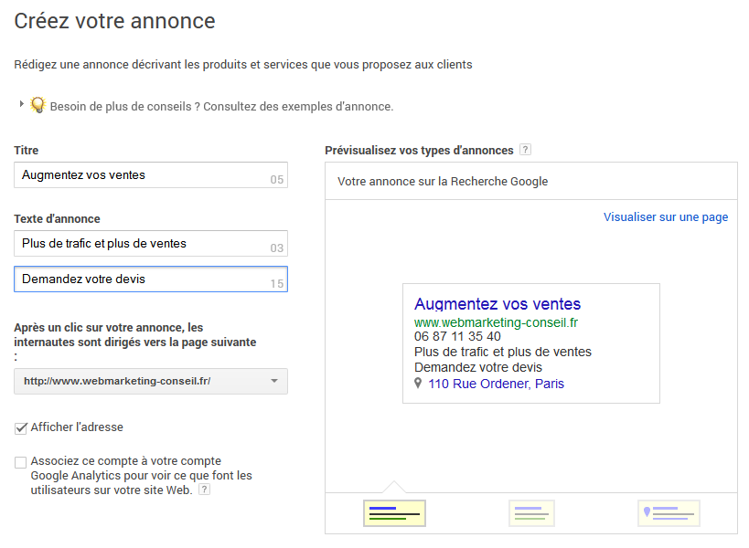 annonce adwords express