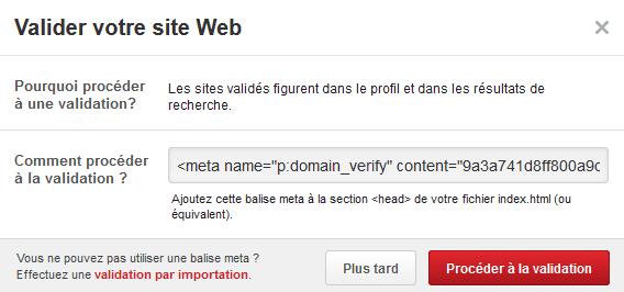 validation site web pinterest