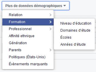ciblage critère socio-demographique facebook