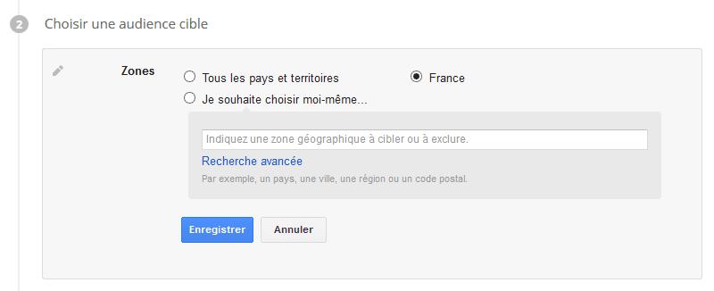 ciblage géographique google