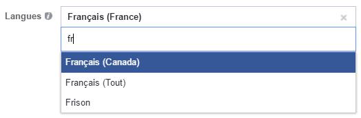 ciblage langue facebook