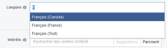 ciblage par langue facebook
