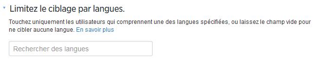 ciblage twitter langue