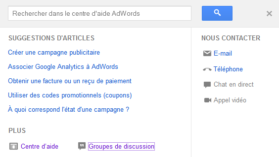 contacter adwords