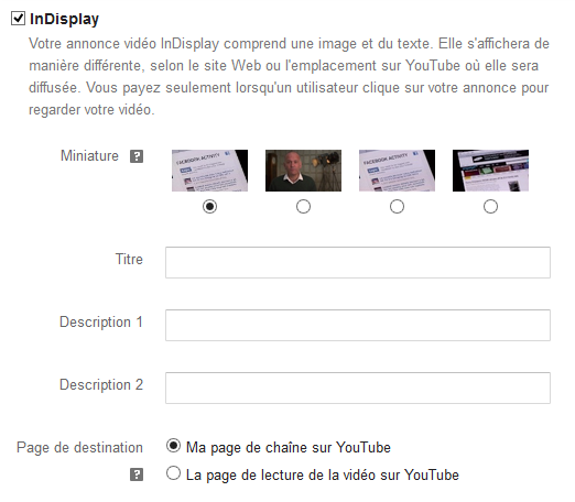 créer une annonce indisplay sur youtube