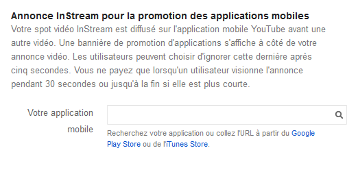 creer annonce instream promotion application mobile