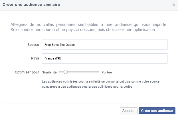 audience similaire lookalike facebook