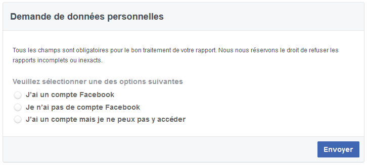 demande données facebook