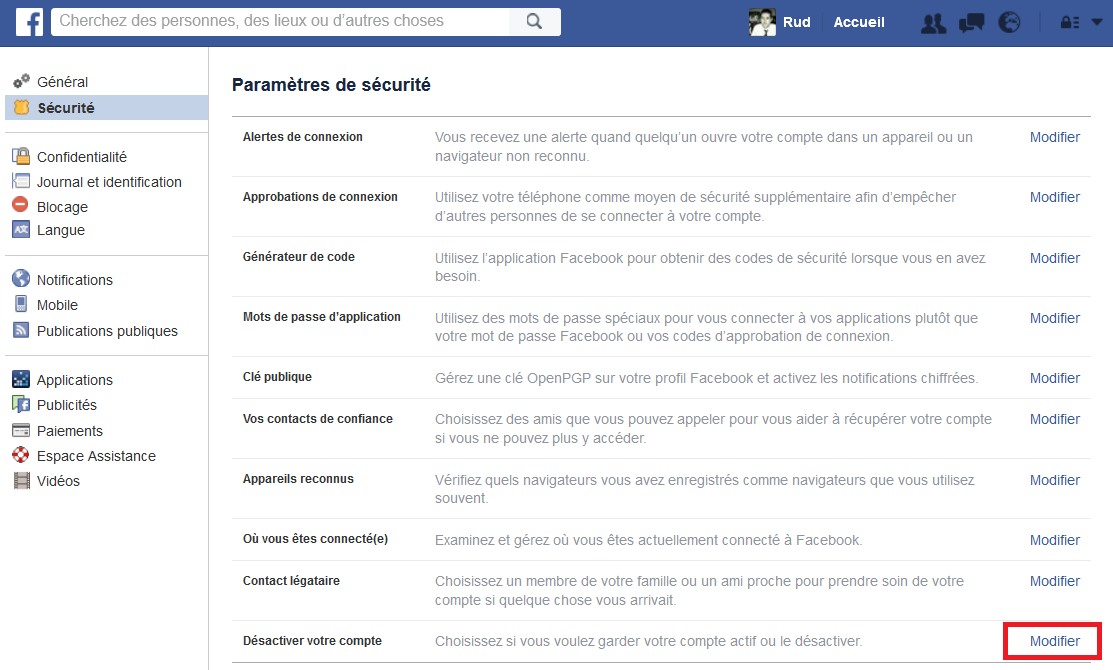 désinscrire facebook