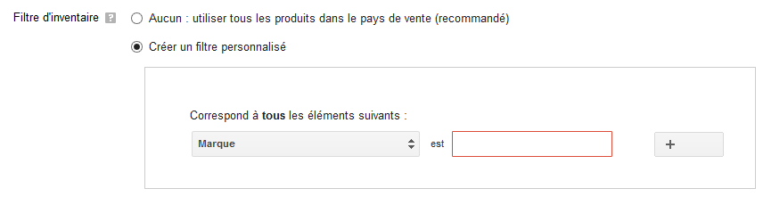 filtre inventaire google shopping