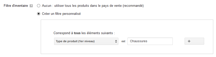 filtre d'inventaire google shopping