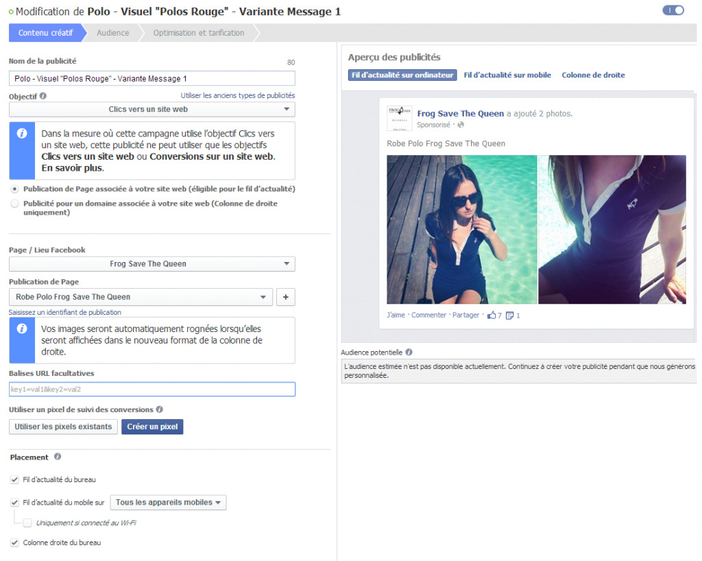 créer publicité facebook