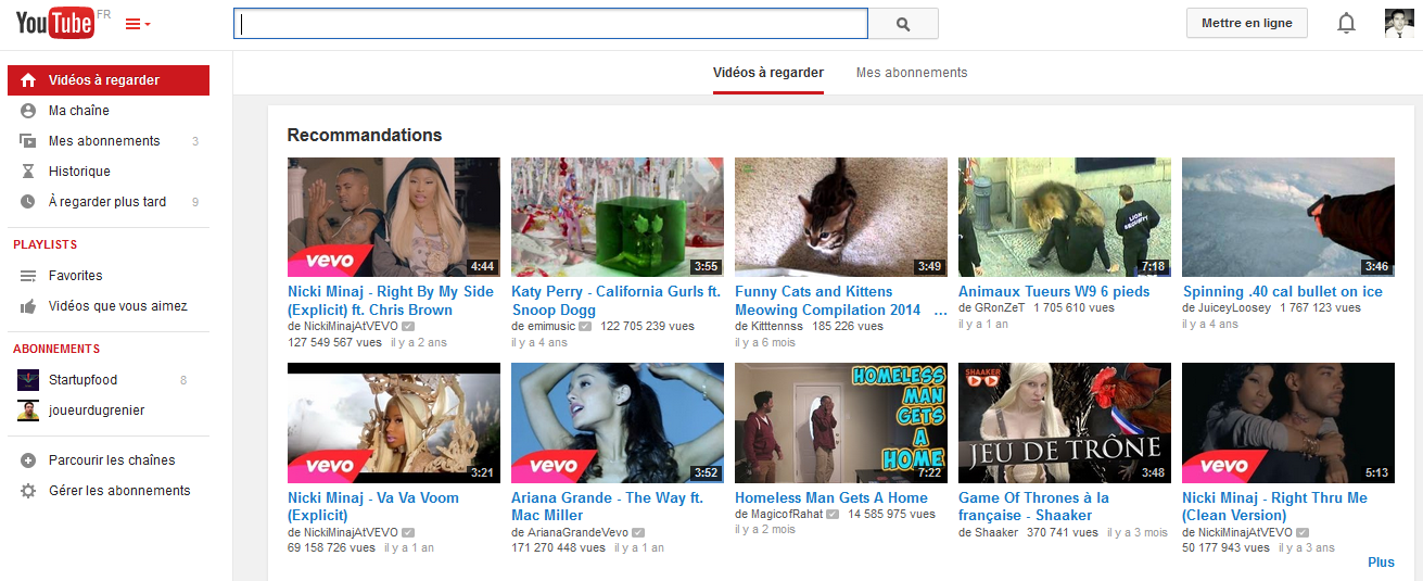 page accueil youtube